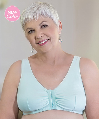 8150463257 This soft cotton leisure bra provides full coverage and is comfortable  against sensitive skin. The front-opening style allows for ease